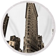Flat Iron Building In Sepia Round Beach Towel