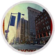 Flat Iron Building Poster Round Beach Towel by Nishanth Gopinathan