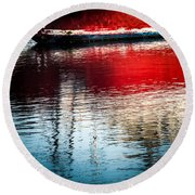 Red Boat Serenity Round Beach Towel