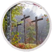 Flax Creek In The Fog Round Beach Towel by Debra and Dave Vanderlaan