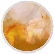 Flaxen Manes Round Beach Towel
