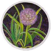 Fleur D Allium With Iris Leaves Backup Round Beach Towel