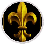 Fleur De Lis In Black And Gold Round Beach Towel
