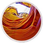 Flexibility Rock In Lower Antelope Canyon Near Page-arizona  Round Beach Towel