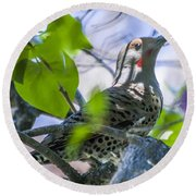 Flicker In The Lilacs Round Beach Towel