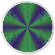 Flight Of Fancy Fractal In Green And Purple Round Beach Towel