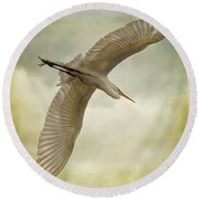 Flight Of The Egret Round Beach Towel