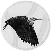 Flight Of The White Necked Heron V2 Round Beach Towel