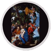 Flight To Egypt With Angels Round Beach Towel