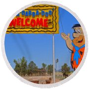 Flinstones Bedrock City In Arizona Round Beach Towel