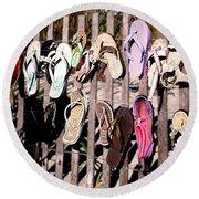 Flip Flops By Jan Marvin Round Beach Towel