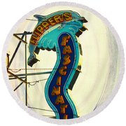 Flippers Facination - Wildwood Boardwalk Round Beach Towel