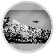 Float Plane Over The Mountain Round Beach Towel