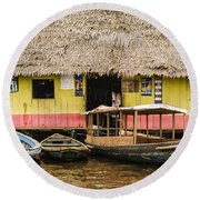 Floating Bar In Shanty Town Round Beach Towel
