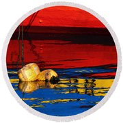Floating Buoys And Reflections Round Beach Towel