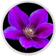 Floating Clematis Round Beach Towel