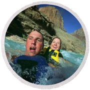 Floating Down The Little Colorado River Round Beach Towel