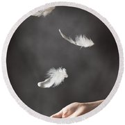 Floating Feathers Round Beach Towel by Amanda Elwell