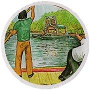 Floating Gardens Xochimilcho Mexico Round Beach Towel