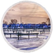 Floating Homes At Bluffers Park Marina Round Beach Towel