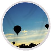 Floating In The Air At Sundown Round Beach Towel