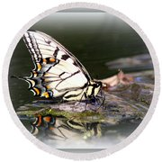 Floating In Water - Swallowtail -butterfly Round Beach Towel