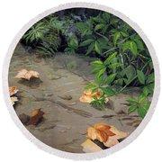 Floating Leaves By George Wood Round Beach Towel