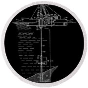 Floating Oil Rig Patent Round Beach Towel
