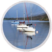 Floating On Blue 13 Round Beach Towel