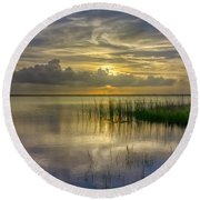 Floating Over The Lake Round Beach Towel