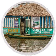 Floating Pub In Shanty Town Round Beach Towel