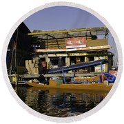 Floating Shop Along With Another Shop On Floats In The Dal Lake Round Beach Towel