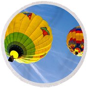 Floating Upward Hot Air Balloons Round Beach Towel
