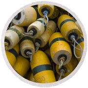 Floats Used In Crab Fishing Round Beach Towel