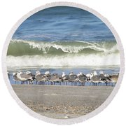 Flock And Wave Round Beach Towel