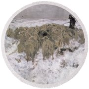 Flock Of Sheep In The Snow Round Beach Towel