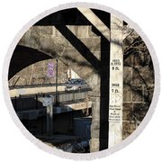 Flood Height Sign At Ellicott City Maryland Round Beach Towel