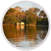 Flooded Amazon With Houses Round Beach Towel