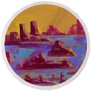 Flooded Canyon Round Beach Towel