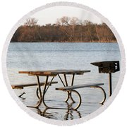 Flooded Park Bench Lunch Round Beach Towel