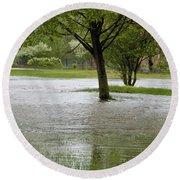 Flooded Park Round Beach Towel