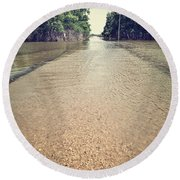 Flooded Road Round Beach Towel