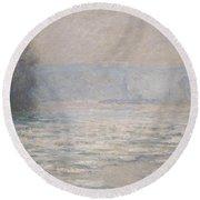 Floods On The Seine Near Bennecourt Round Beach Towel by Claude Monet
