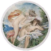 Flora And Zephyr Round Beach Towel