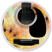 Floral Abstract Guitar 14 Round Beach Towel