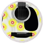 Floral Abstract Guitar 22 Round Beach Towel