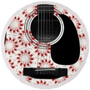 Floral Abstract Guitar 24 Round Beach Towel