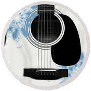 Floral Abstract Guitar 25 Round Beach Towel