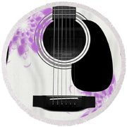 Floral Abstract Guitar 26 Round Beach Towel