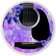 Floral Abstract Guitar 27 Round Beach Towel